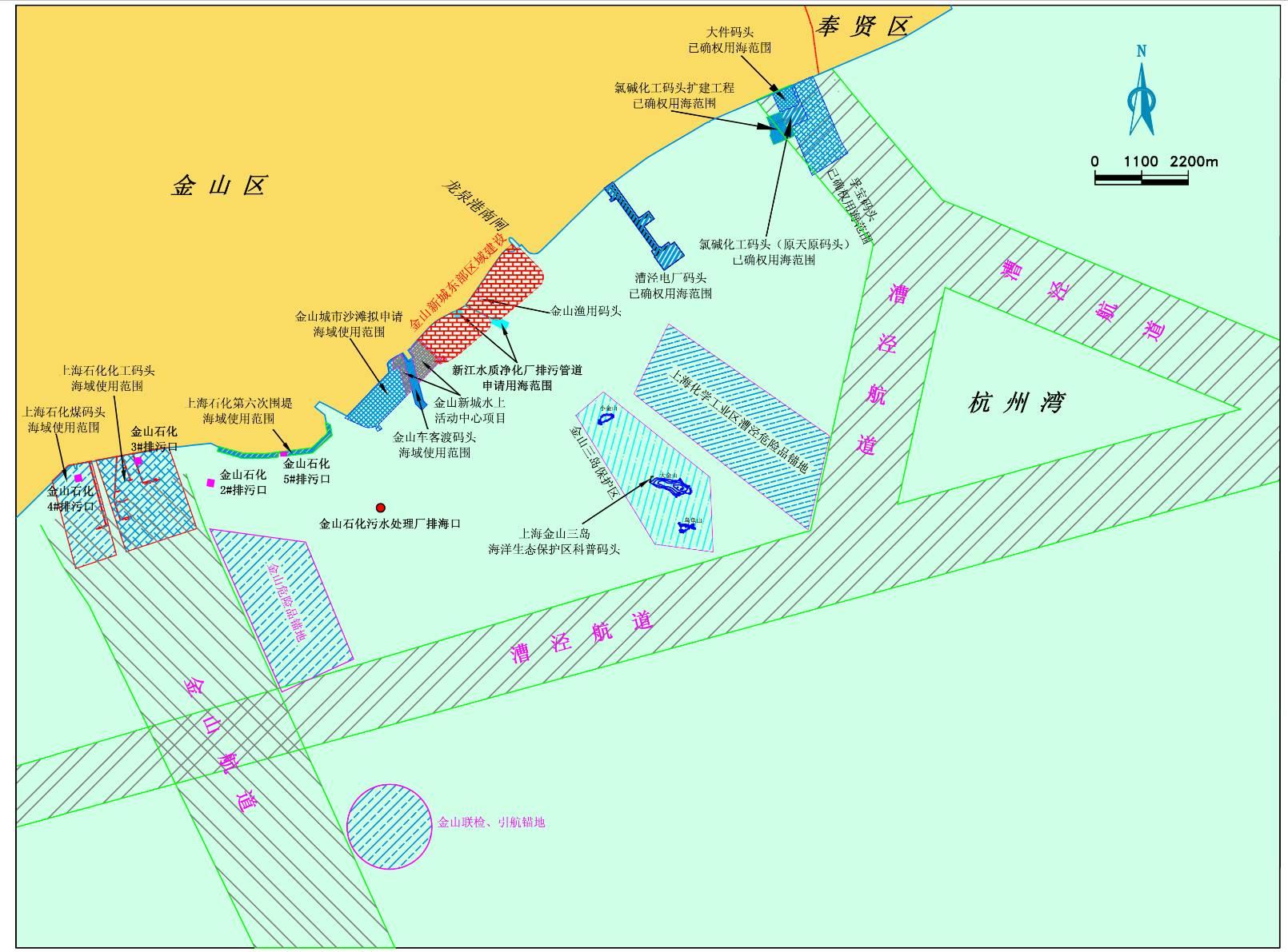 规划用海区及周边海域海洋开发活动现状图